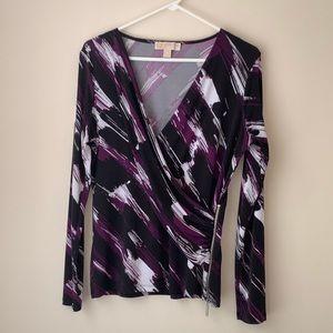 MICHAEL KORS Black/Purple Deep Plunge Wrap Top M